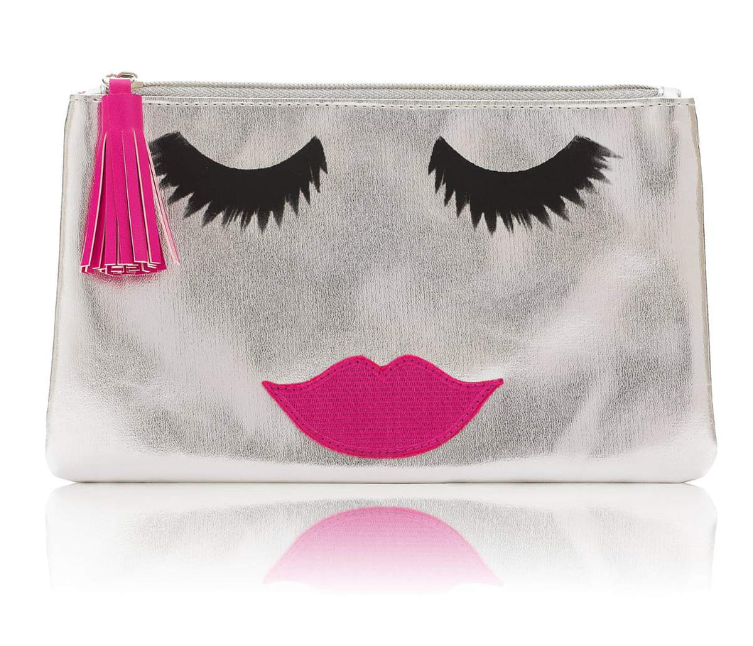 Silver Metallic Face Emoji Makeup Bag