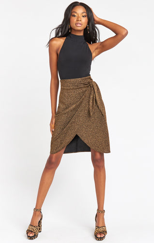 Anjolie Wrap Skirt ~ Gold Me Up Stripe