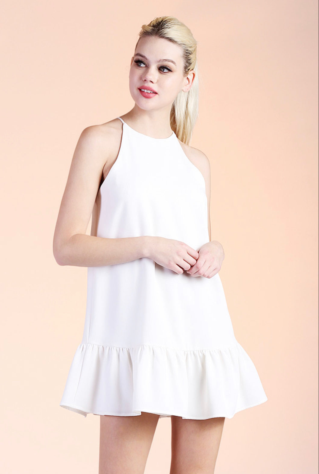 Heavy Crepe Ruffle Shift Dress