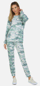 Nate Emerald Camo Cropped Sweatpant
