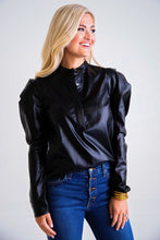 Pleather Puff Sleeve Top