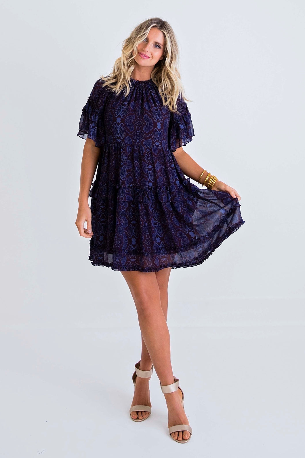 Snake Chiffon Ruffle Dress