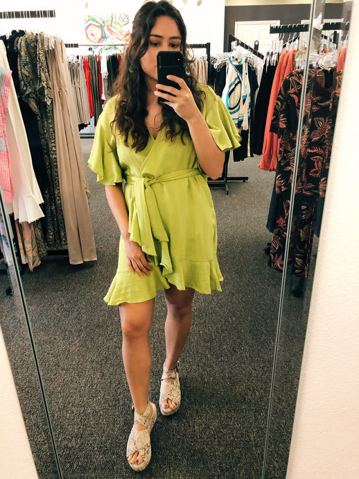 Green Apple Wrap Dress