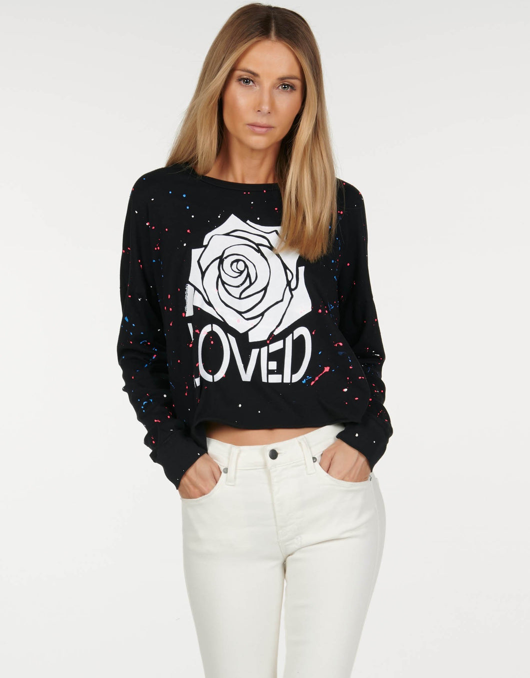 Lori Loved Rose LS Crop Tee