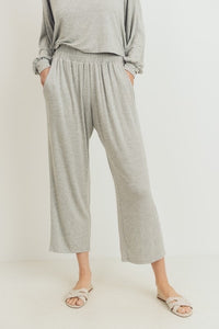 Ruffle at Waist Side Pockets Culotte Pants