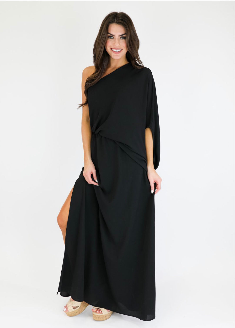 Teggy One Shoulder Dress - Black