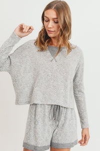 Contrast Dorito Casual Brushed Knit Top