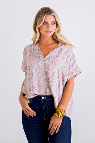Pink Snake V Neck Signature Top