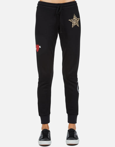 Jess Leopard Star Peace Love Sweatpants