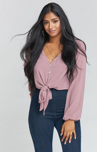 Tatum Tie Top ~ Antique Rose Chiffon