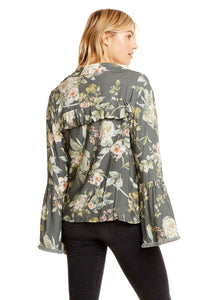 Heirloom Wovens Peplum Sleeve Ruffle Back Utility Jacket