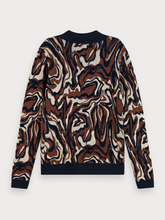 Long sleeve cotton-blend jacquard knit pullover