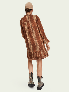 Pleated Hem Long Sleeve Mini Dress
