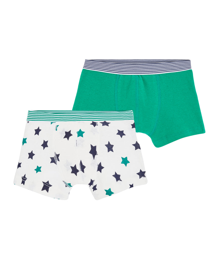 Boys' Cotton/Linen Boxer Shorts - 2-Piece Set