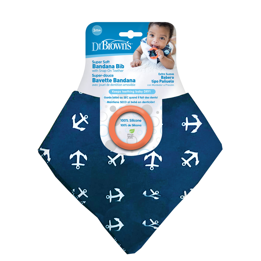 Bandana Bib with snap on Teether, 1-Pack, Anchors (Blue with Orange Teether)