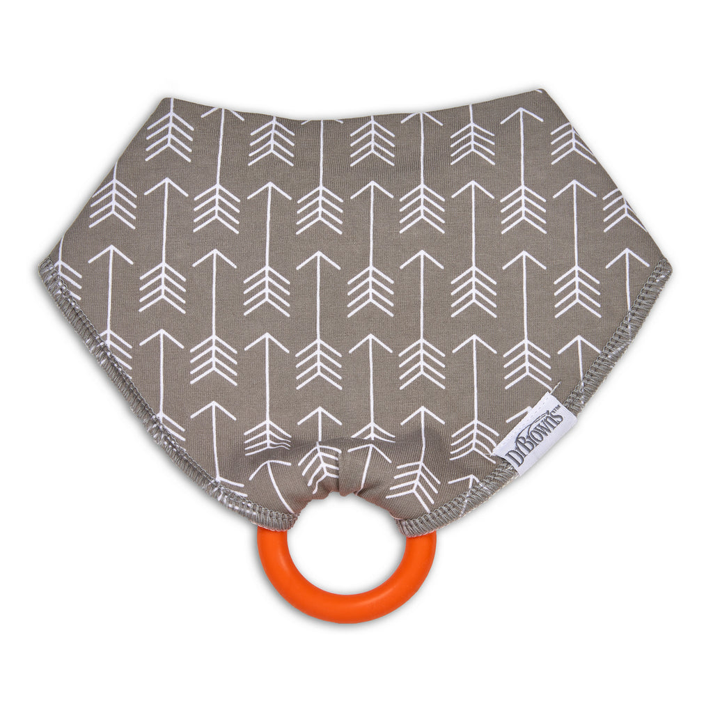 Bandana Bib with snap on Teether, 1-Pack, Arrows (Gray with Orange Teether)