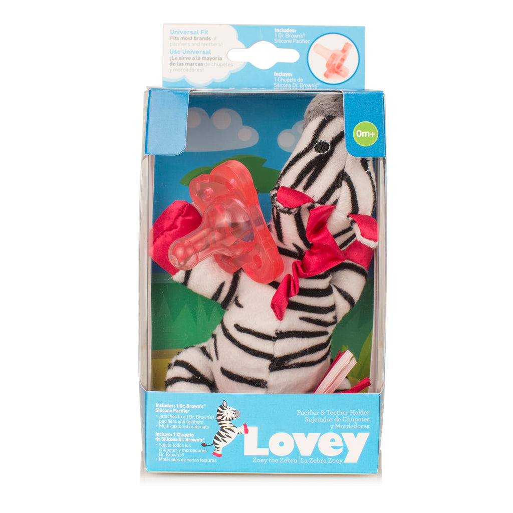 Zebra Lovey with Pink One-Piece Pacifier