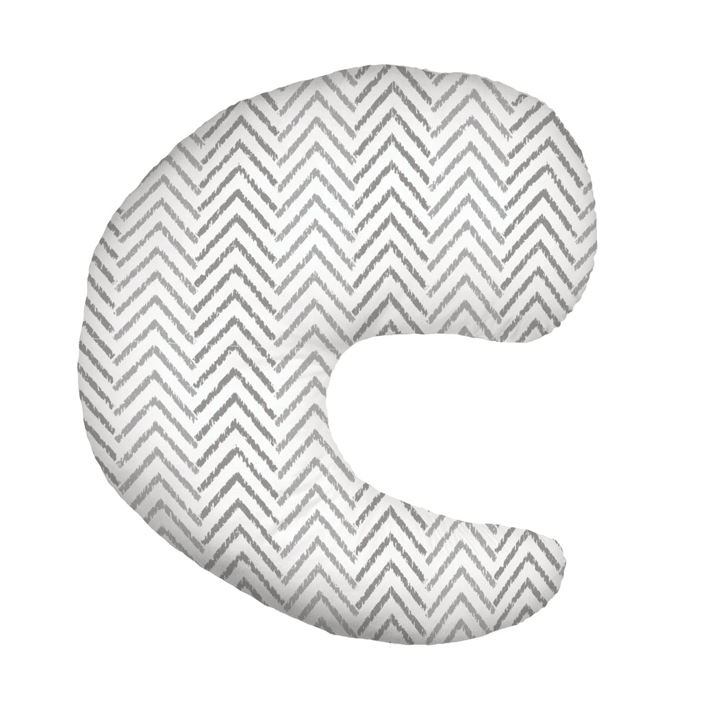 Gia Angled Feeding Pillow, Gray Chevron