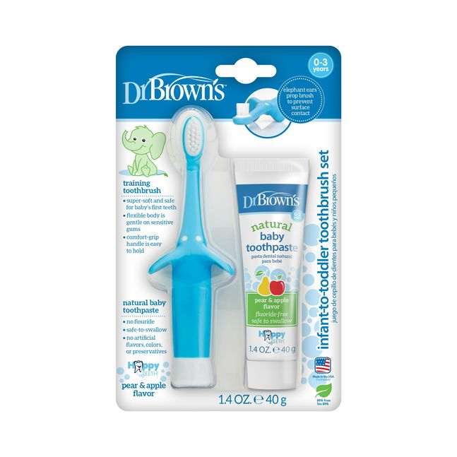 Infant-to-toddler toothbrush & toothpaste combo pack, Blue