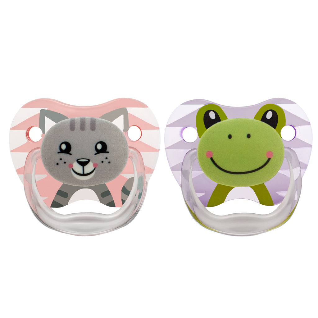 PreVent PRINTED SHIELD Pacifier - Stage 1 * 0-6M - Girl Animal Faces (Cat & Frog), 2-Pack