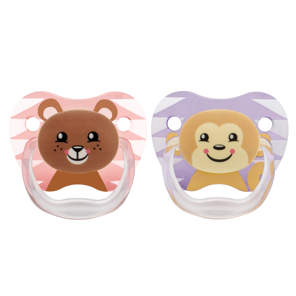 PreVent PRINTED SHIELD Pacifier - Stage 2 * 6-12M - Girl Animal Faces (Bear & Monkey), 2-Pack