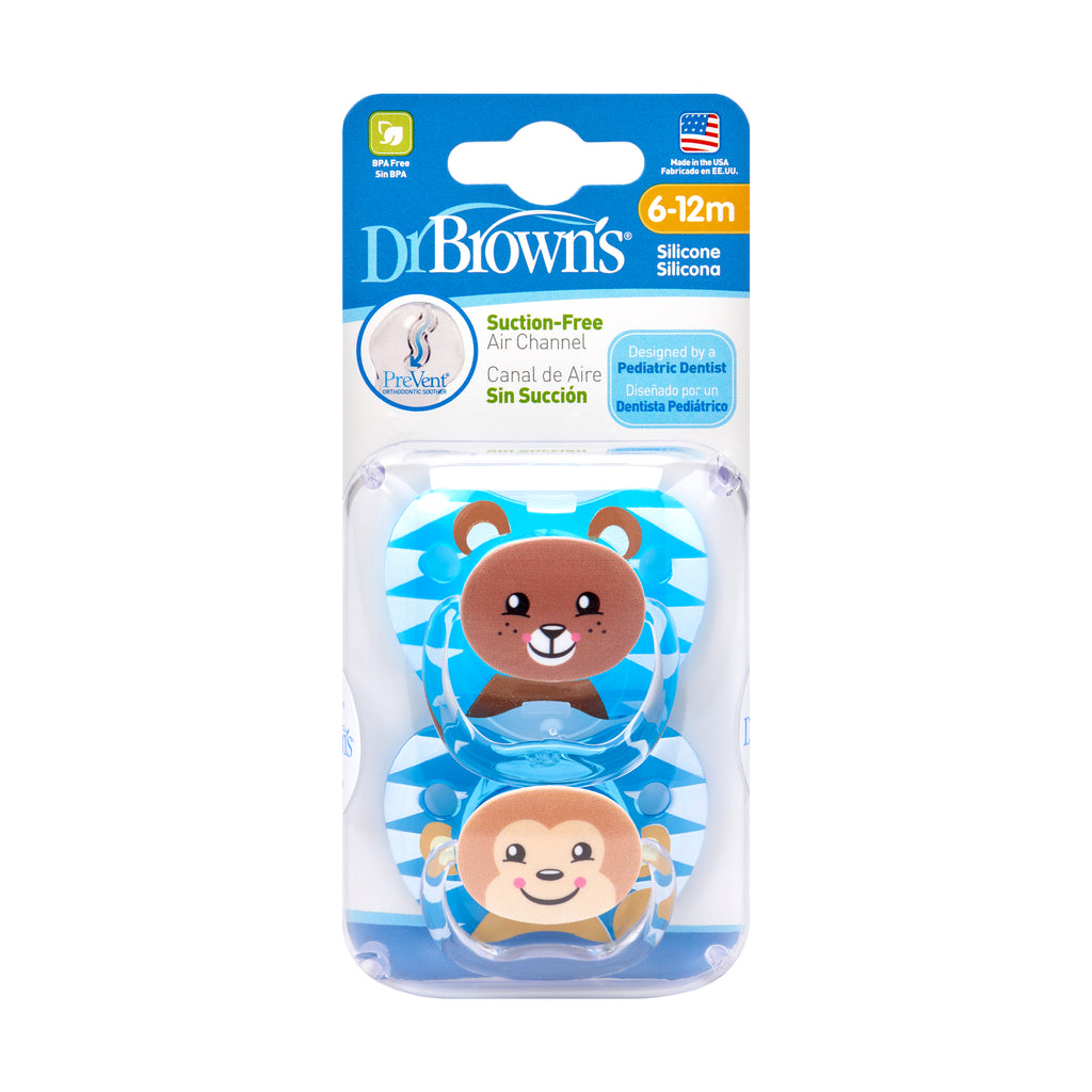 PreVent PRINTED SHIELD Pacifier - Stage 2 * 6-12M - Boy Animal Faces (Bear & Monkey), 2-Pack