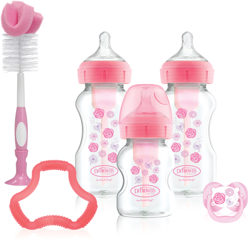 Dr Brown's Options+ Anti-Colic Baby Bottles Gift Set, Pink