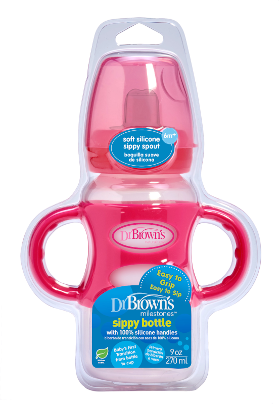 NEW: 270 ml Wide-Neck Options+ Sippy Bottle w/ Silicone Handles, 1-Pack