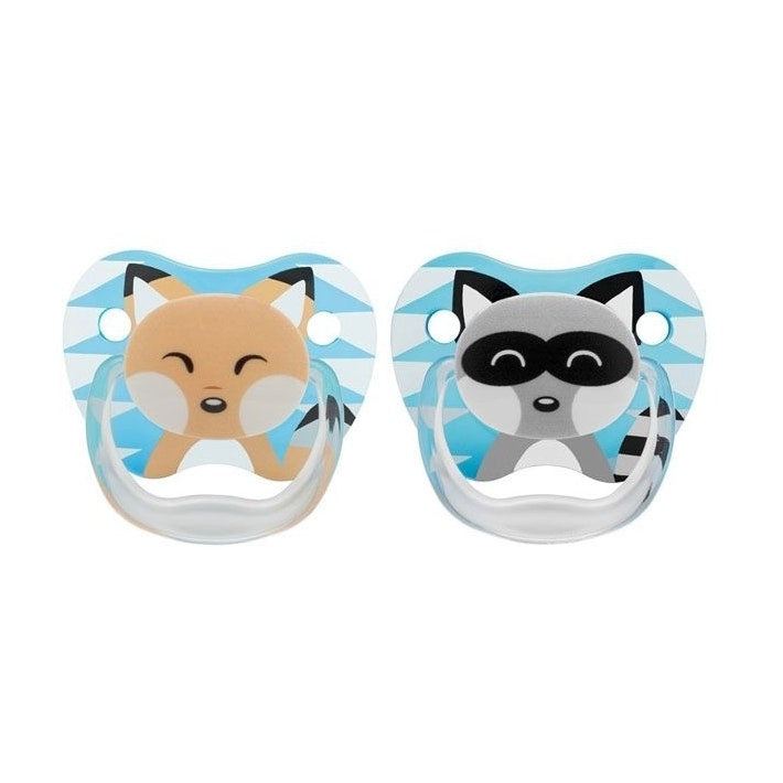 PreVent PRINTED SHIELD Pacifier - Stage 1 * 0-6M - Boy Animal Faces (Fox & Racoon), 2-Pack