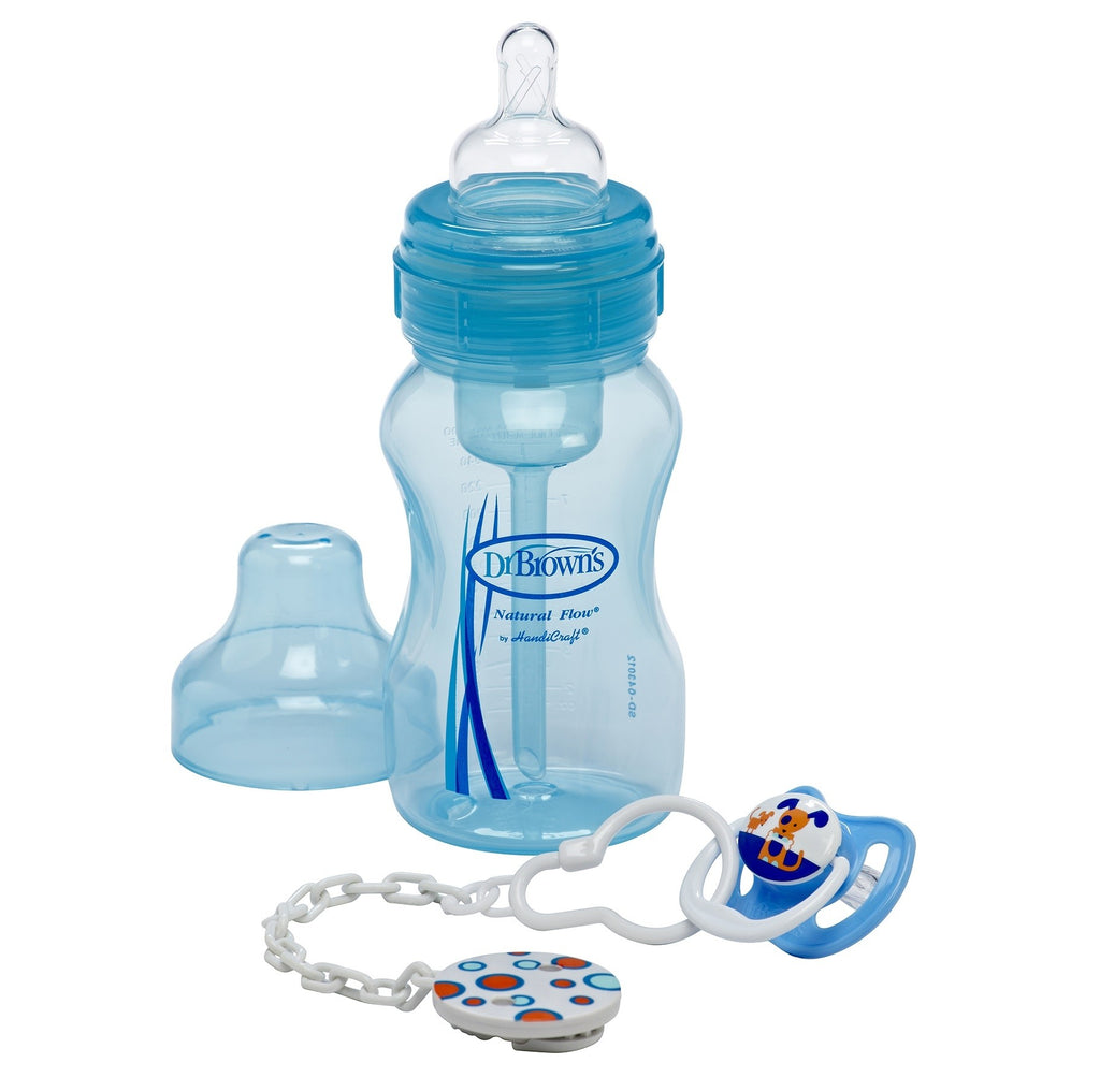 Dr. Brown's Gift Set (Wide Neck Original Bottle, Pacifier & Clip) Blue