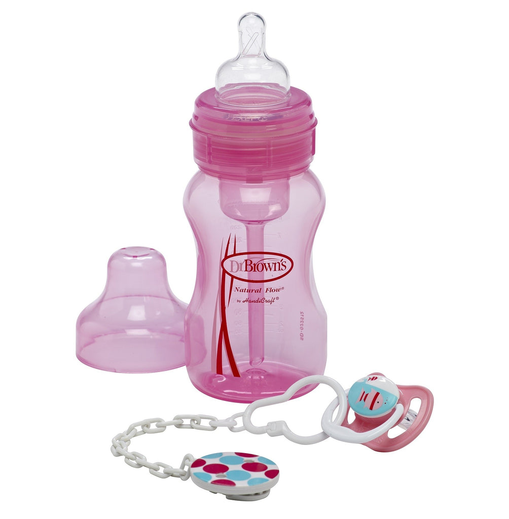 Dr. Brown's Gift Set (Wide Neck Original Bottle, Pacifier & Clip) Pink