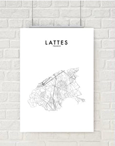 LATTES, FRANCE HOMETOWN PRINT