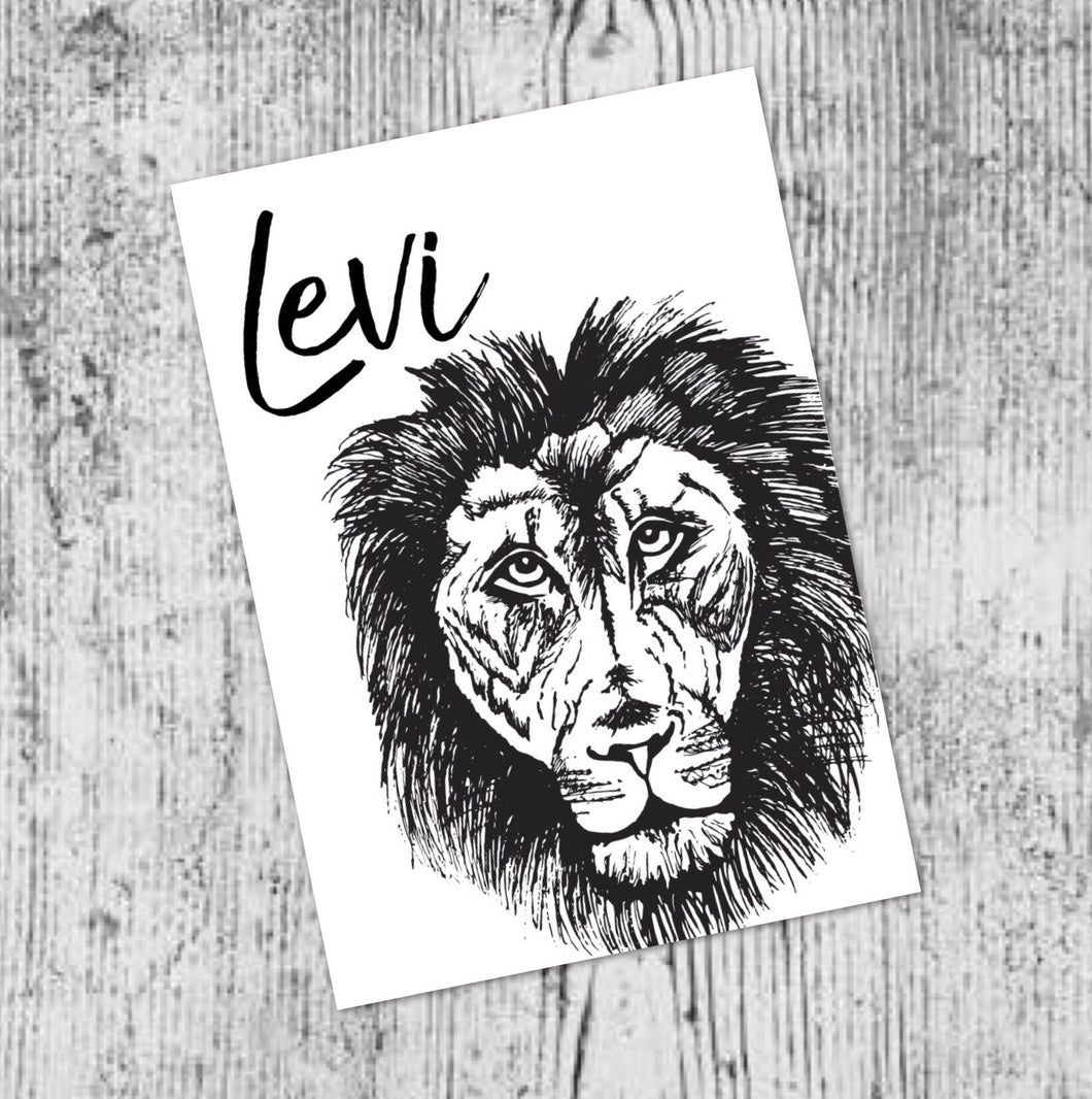 LEVI THE LION - CUSTOM NAME A4