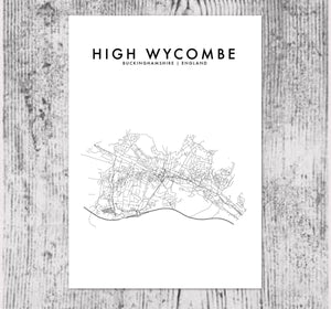 HIGH WYCOMBE, ENGLAND HOMETOWN PRINT
