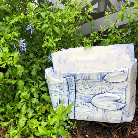 Large Blue and White Lily Planter