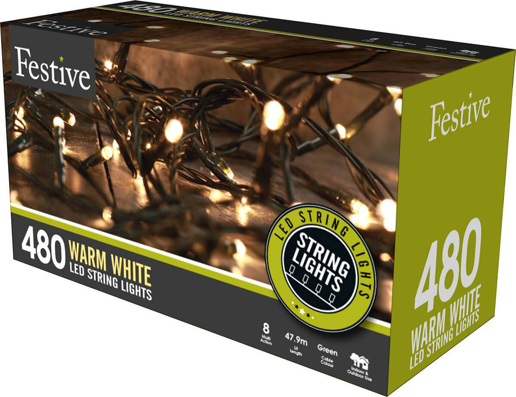 480 Warm White LED String Lights from The Christmas Forest