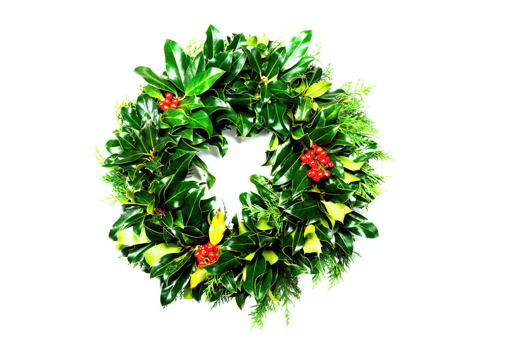 10inch Real Holly Wreath