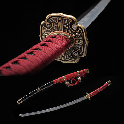 Handmade Classic Japanese Samurai Sword Clay Tempered Taichi Sword Traditional Forged