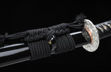 High Carbon Steel Clay Tempered Silver Wave Tsuba Samurai Katana Sword