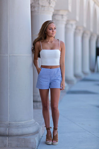 Ribbed Bandeau Top in Lilac