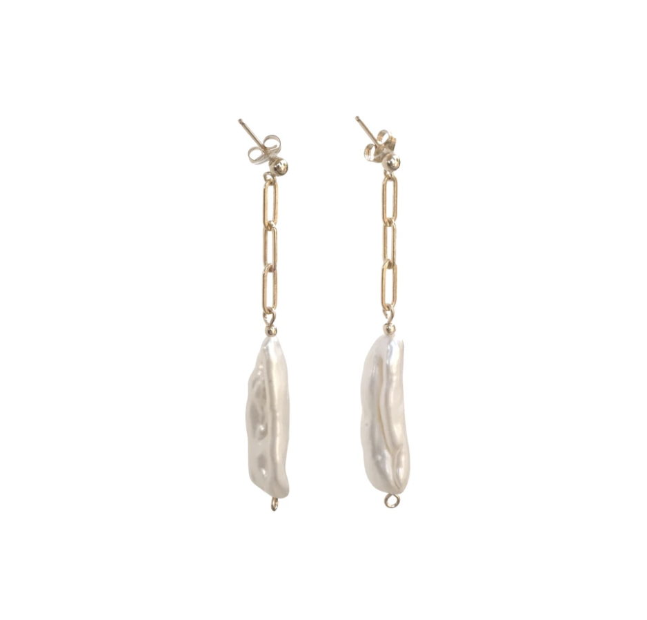 Riley pearl chain earrings gold