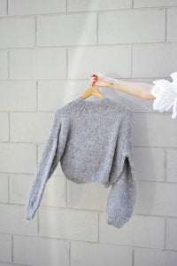 100% wool knit crop Grey