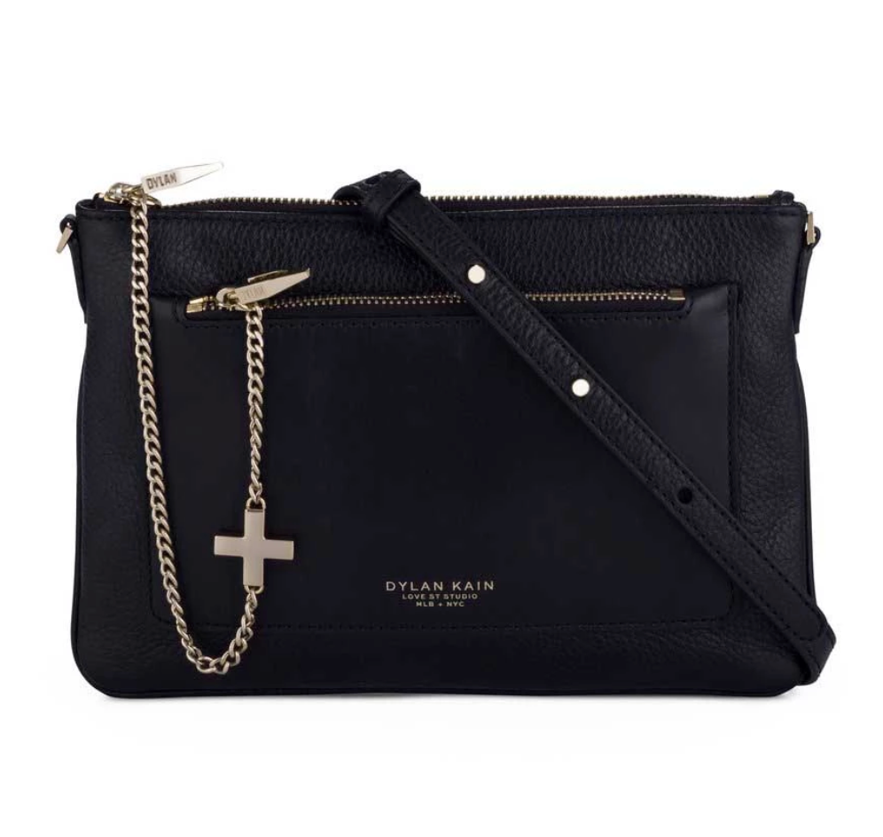 Dylan Kain Black Margot Bag with Silver Chain