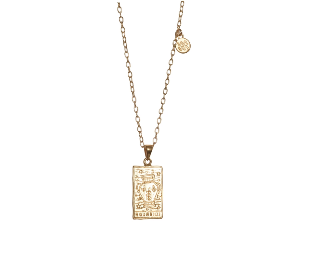 Zodiac Necklace – Aquarius gold