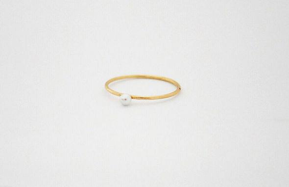 gold tiny pearl ring