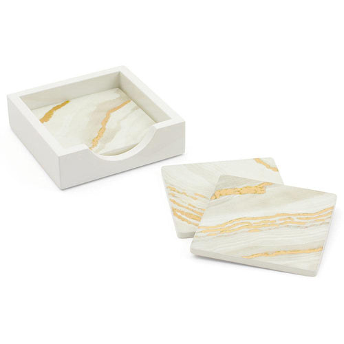 Moonlight Marble Square Lacquer Coasters in Holder - Set of 4