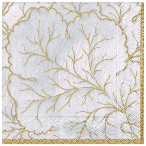 Gilded Majolica Paper Dinner Napkins in Ivory - 20 Per Package