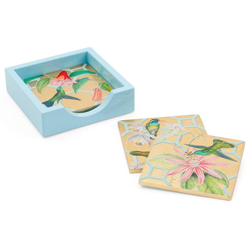Hummingbird Trellis Square Lacquer Coasters in Holder - Set of 4