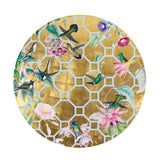 Hummingbird Trellis Round Lacquer Placemat in Gold - 1 Each