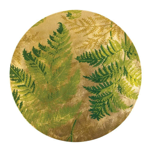 Fern Round Lacquer Placemat in Gold - 1 Each